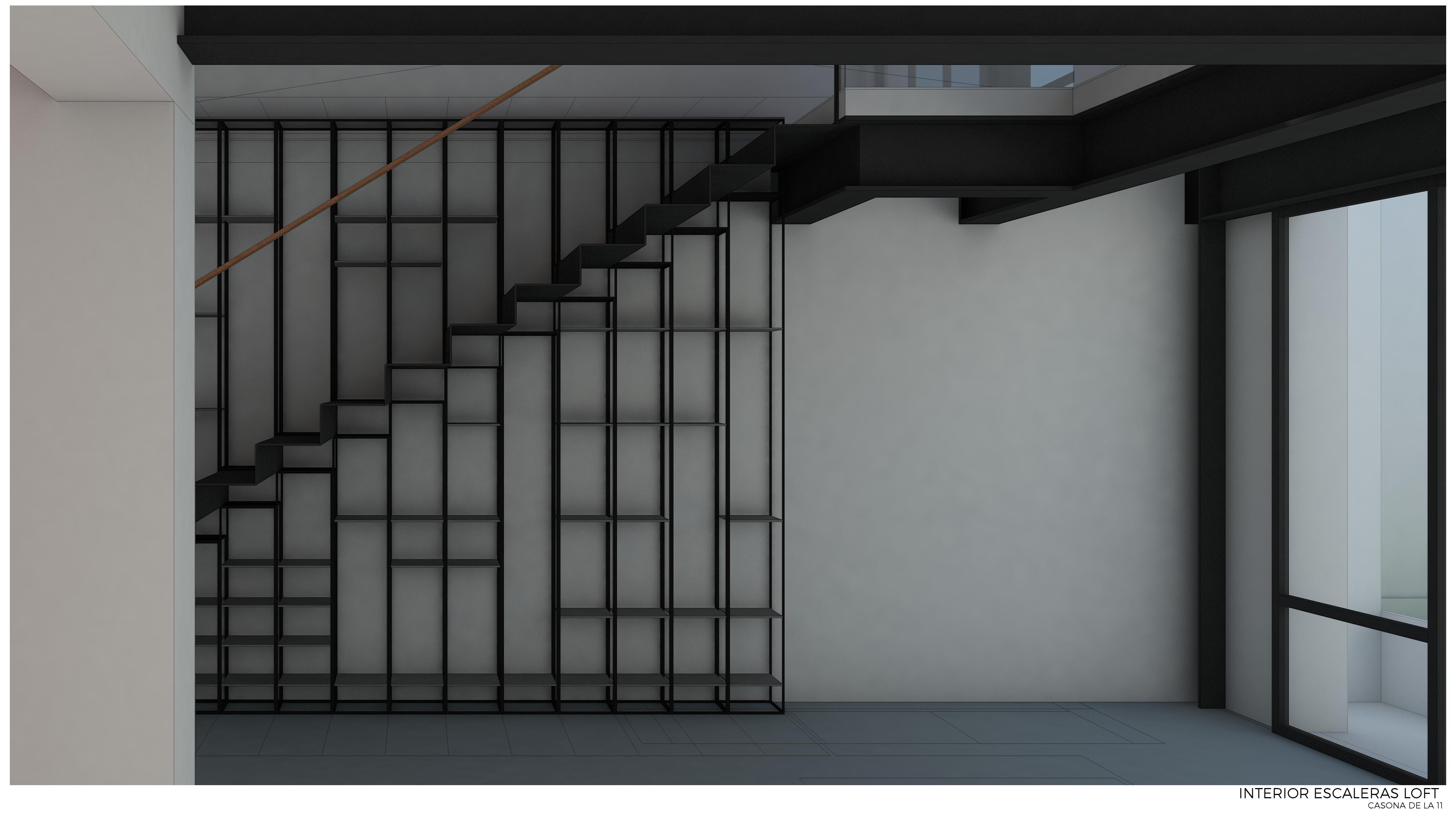 Desarrollo de escalera y librero